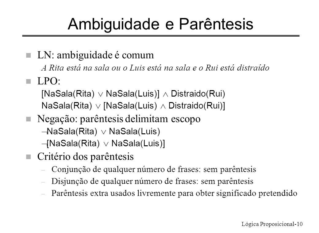 Lógica Proposicional-10 Ambiguidade e Parêntesis n LN: ambiguidade é comum A Rita está na sala ou o Luis está na sala e o Rui está distraído n LPO: [N