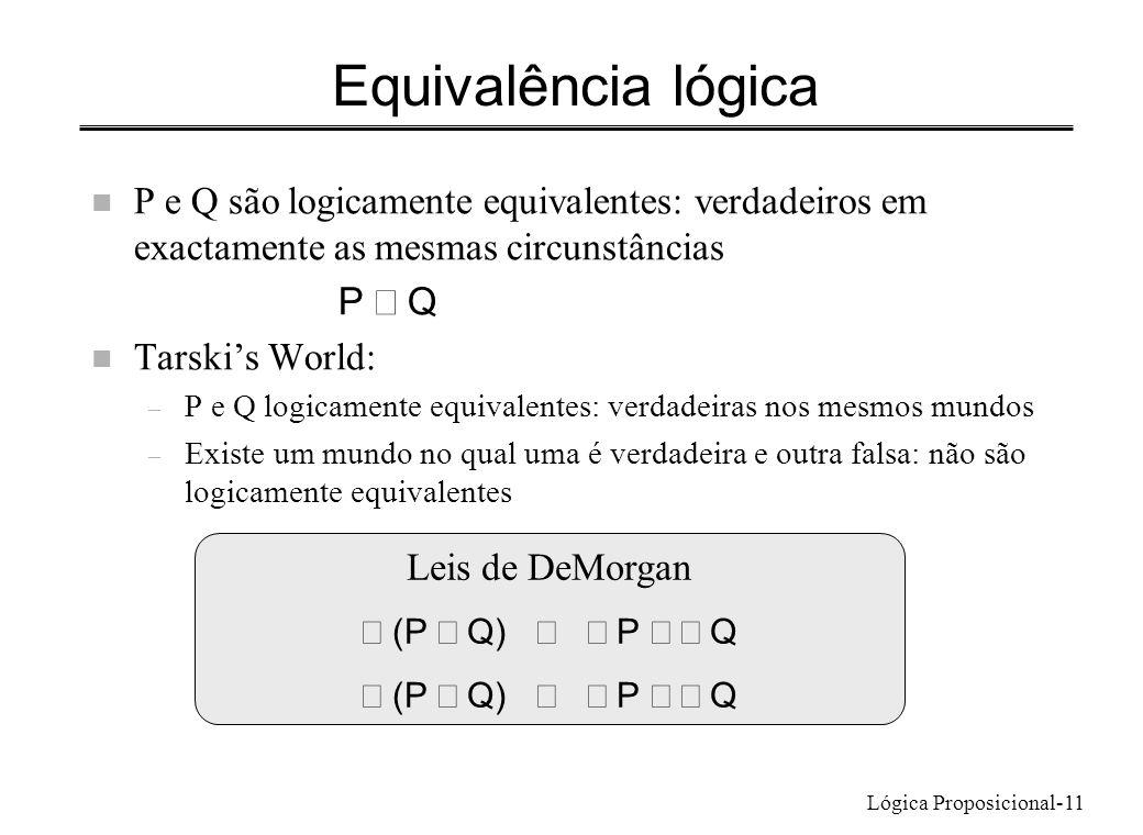 Lógica Proposicional-11 Equivalência lógica n P e Q são logicamente equivalentes: verdadeiros em exactamente as mesmas circunstâncias P Q n Tarskis Wo