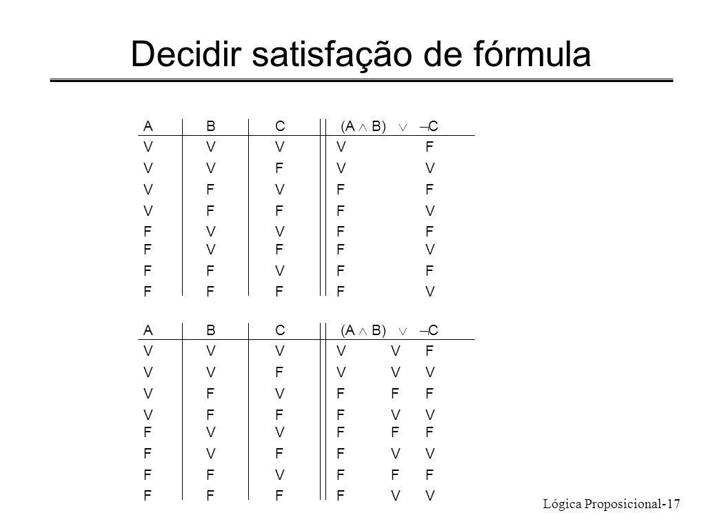Lógica Proposicional-17 Decidir satisfação de fórmula ABC (A B) C VVVVF VVFVV VFVFF VFFFV FVVFF FVFFV FFVFF FFFFV ABC (A B) C VVVVVF VVFVVV VFVFFF VFF