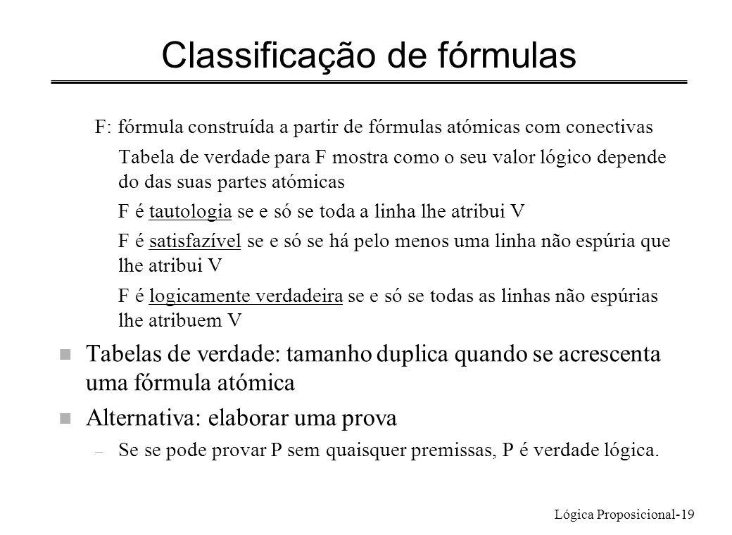 Lógica Proposicional-19 Classificação de fórmulas F: fórmula construída a partir de fórmulas atómicas com conectivas Tabela de verdade para F mostra c