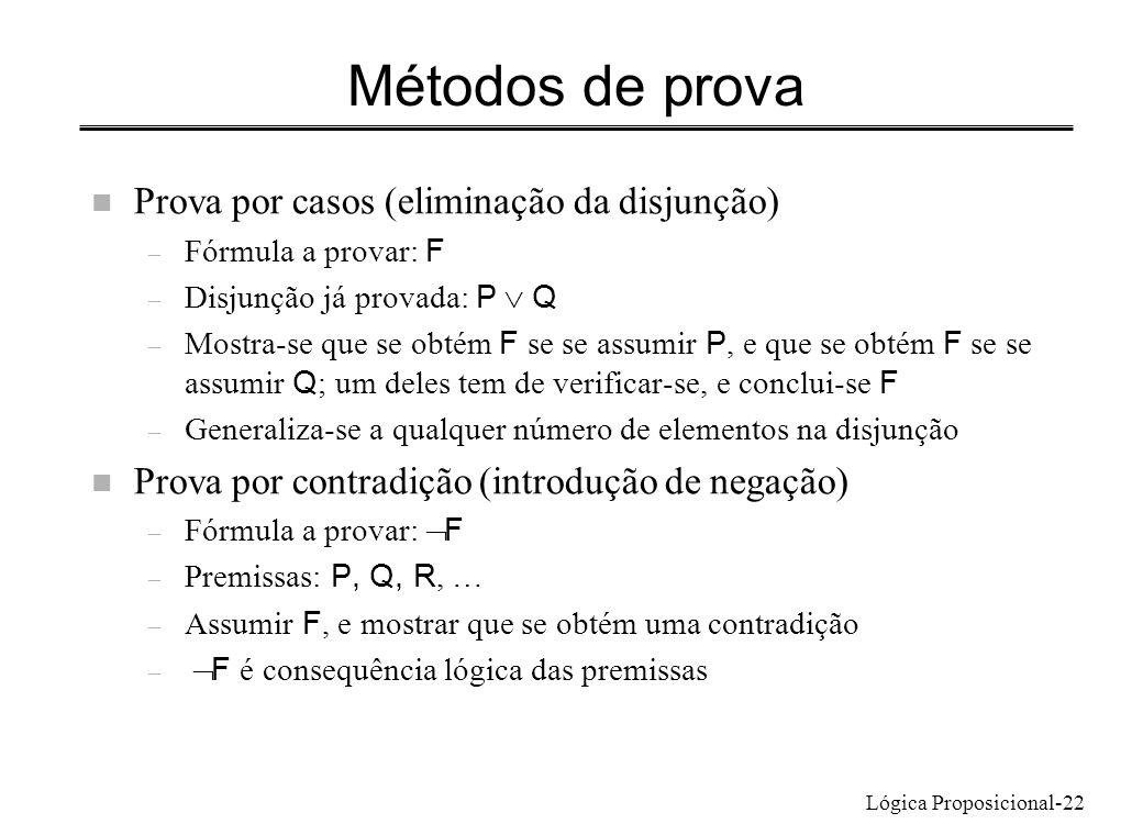 Lógica Proposicional-22 Métodos de prova n Prova por casos (eliminação da disjunção) – Fórmula a provar: F – Disjunção já provada: P Q – Mostra-se que