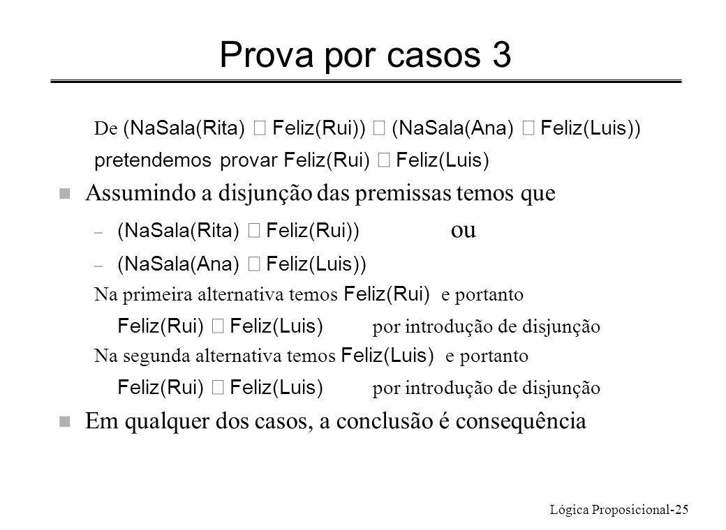 Lógica Proposicional-25 Prova por casos 3 De (NaSala(Rita) Feliz(Rui)) (NaSala(Ana) Feliz(Luis)) pretendemos provar Feliz(Rui) Feliz(Luis) n Assumindo