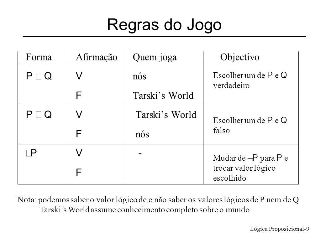 Lógica Proposicional-9 FormaAfirmaçãoQuem jogaObjectivo P QV nós F Tarskis World P QV Tarskis World F nós PV - F Regras do Jogo Escolher um de P e Q v