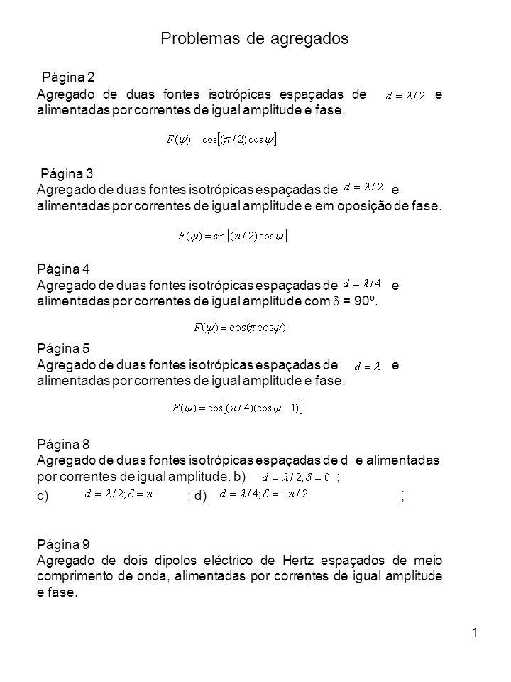 1 Página 2 Agregado de duas fontes isotrópicas espaçadas de e alimentadas por correntes de igual amplitude e fase.