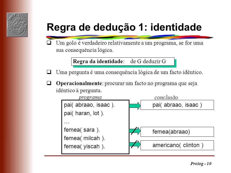 Prolog - 10 qUm golo é verdadeiro relativamente a um programa, se for uma sua consequência lógica. qUma pergunta é uma consequência lógica de um facto