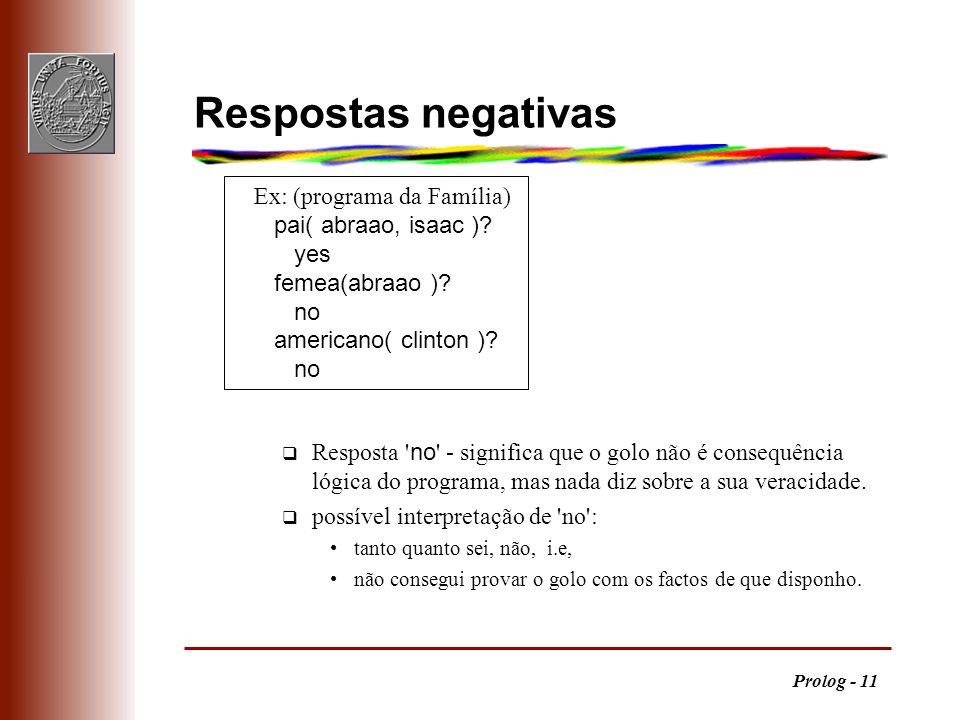 Prolog - 11 Respostas negativas Resposta ' no ' - significa que o golo não é consequência lógica do programa, mas nada diz sobre a sua veracidade. q p