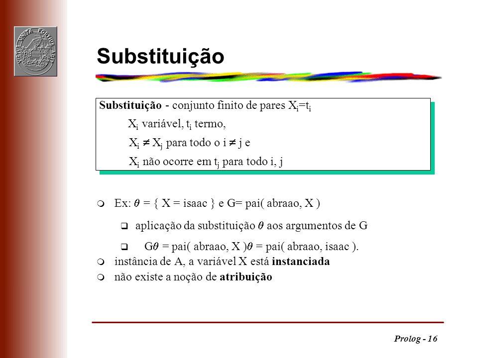 Prolog - 16 Substituição - conjunto finito de pares X i =t i X i variável, t i termo, X i X j para todo o i j e X i não ocorre em t j para todo i, j S