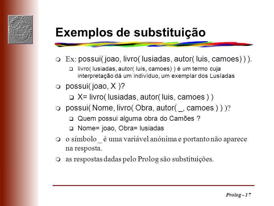 Prolog - 17 Exemplos de substituição Ex: possui( joao, livro( lusiadas, autor( luis, camoes) ) ). q livro( lusiadas, autor( luis, camoes) ) é um termo