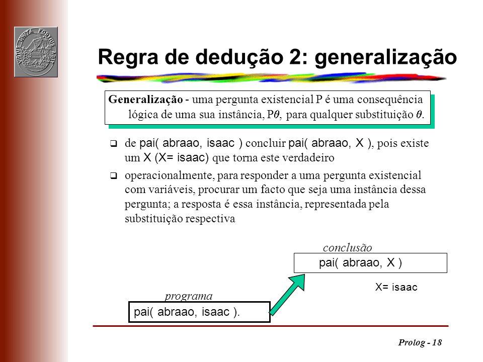 Prolog - 18 Generalização - uma pergunta existencial P é uma consequência lógica de uma sua instância, P, para qualquer substituição. Regra de dedução