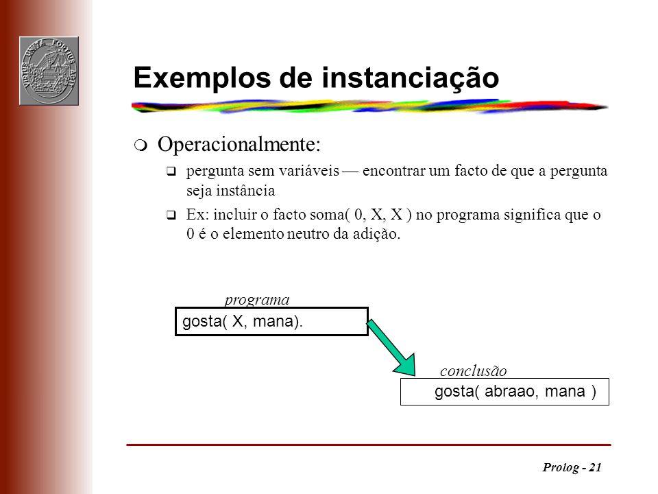 Prolog - 21 Exemplos de instanciação m Operacionalmente: q pergunta sem variáveis encontrar um facto de que a pergunta seja instância q Ex: incluir o