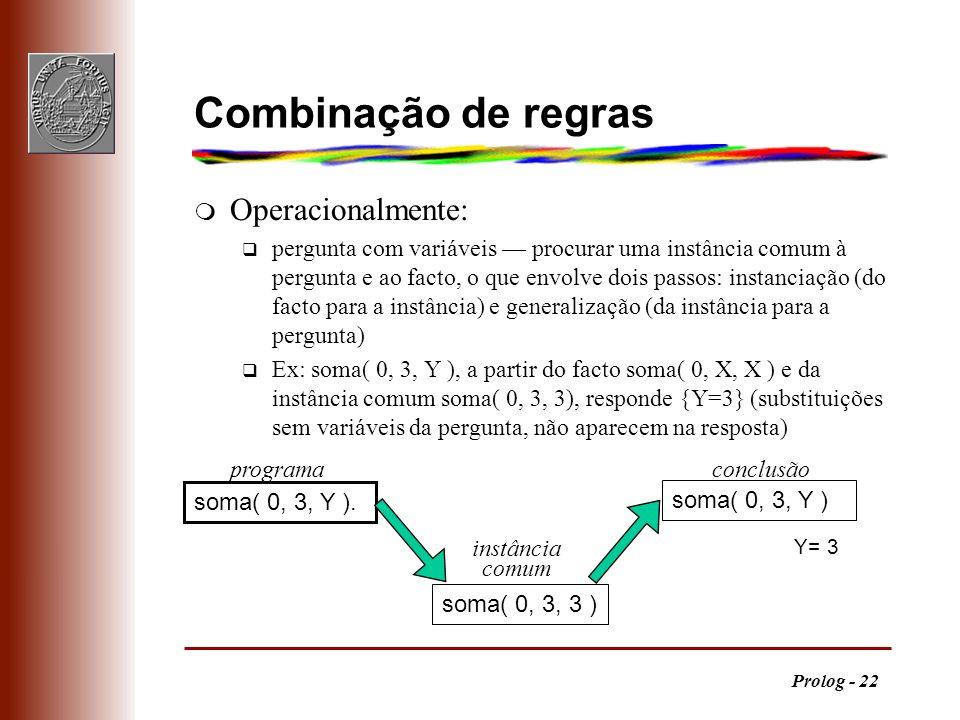 Prolog - 22 Combinação de regras m Operacionalmente: q pergunta com variáveis procurar uma instância comum à pergunta e ao facto, o que envolve dois p