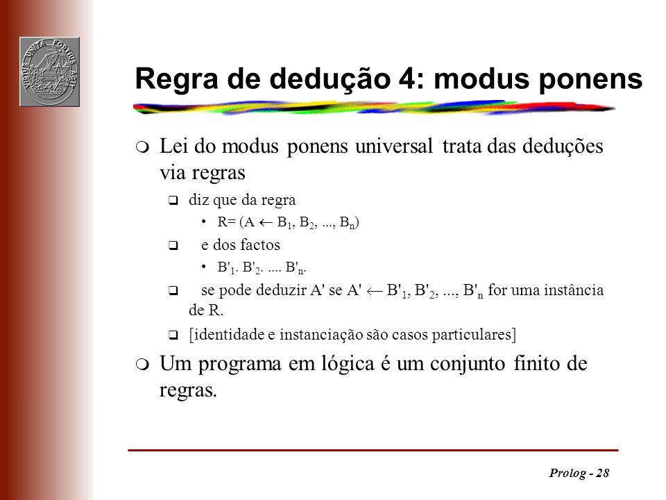 Prolog - 28 Regra de dedução 4: modus ponens m Lei do modus ponens universal trata das deduções via regras q diz que da regra R= (A B 1, B 2,..., B n