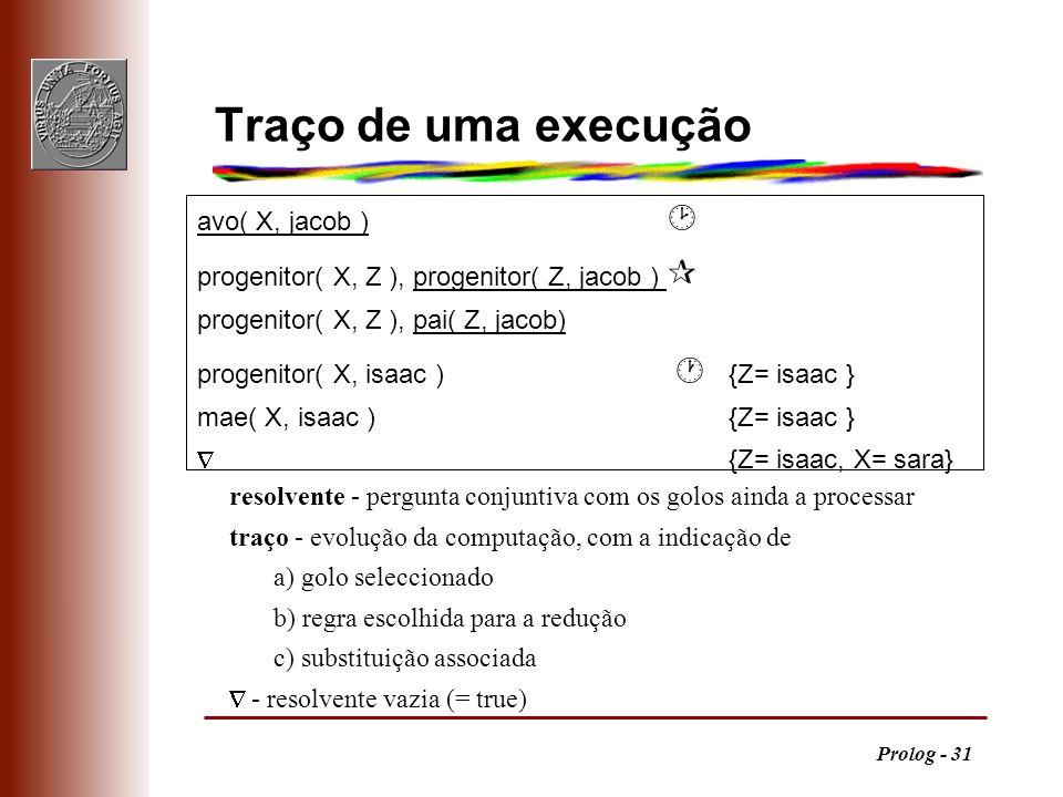 Prolog - 31 resolvente - pergunta conjuntiva com os golos ainda a processar traço - evolução da computação, com a indicação de a) golo seleccionado b)
