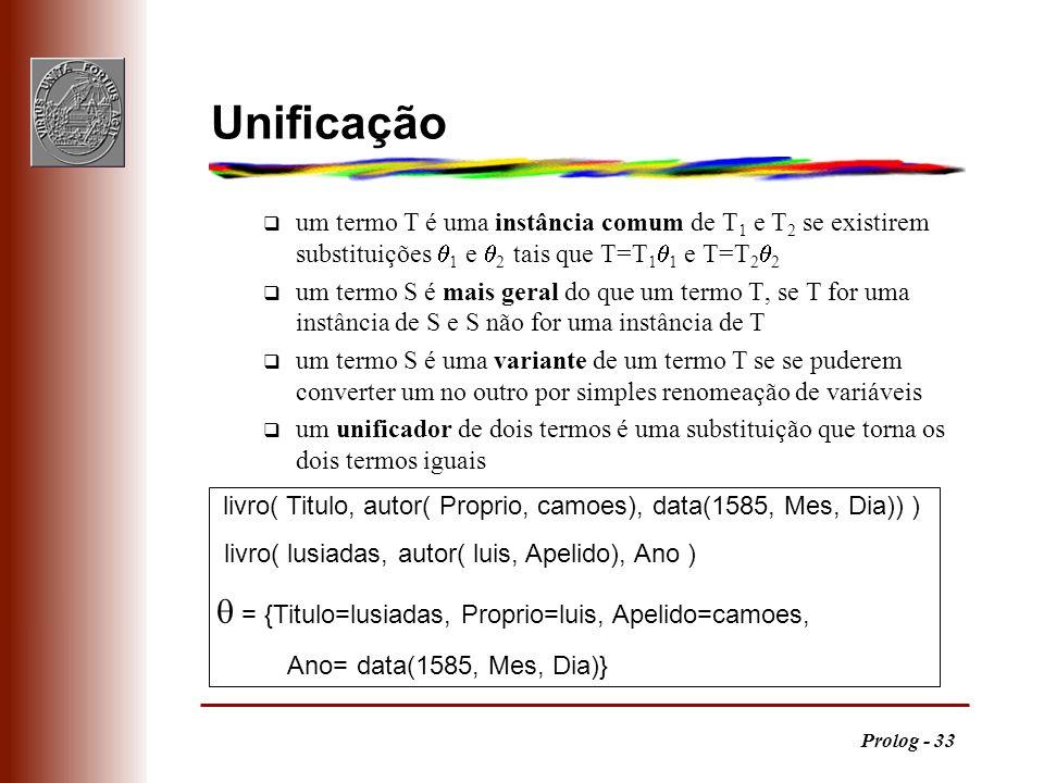 Prolog - 33 livro( Titulo, autor( Proprio, camoes), data(1585, Mes, Dia)) ) livro( lusiadas, autor( luis, Apelido), Ano ) = {Titulo=lusiadas, Proprio=