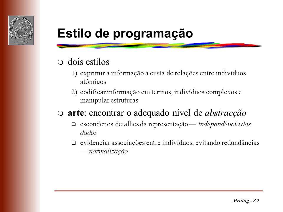 Prolog - 39 Estilo de programação m dois estilos 1)exprimir a informação à custa de relações entre indivíduos atómicos 2)codificar informação em termo