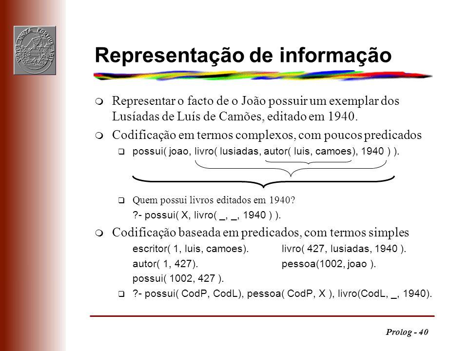 Prolog - 40 Representação de informação m Representar o facto de o João possuir um exemplar dos Lusíadas de Luís de Camões, editado em 1940. m Codific