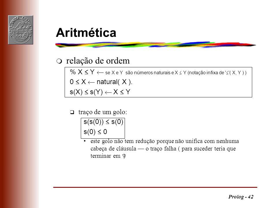 Prolog - 42 m relação de ordem % X Y se X e Y são números naturais e X Y (notação infixa de ' '( X, Y ) ) 0 X natural( X ). s(X) s(Y) X Y q traço de u