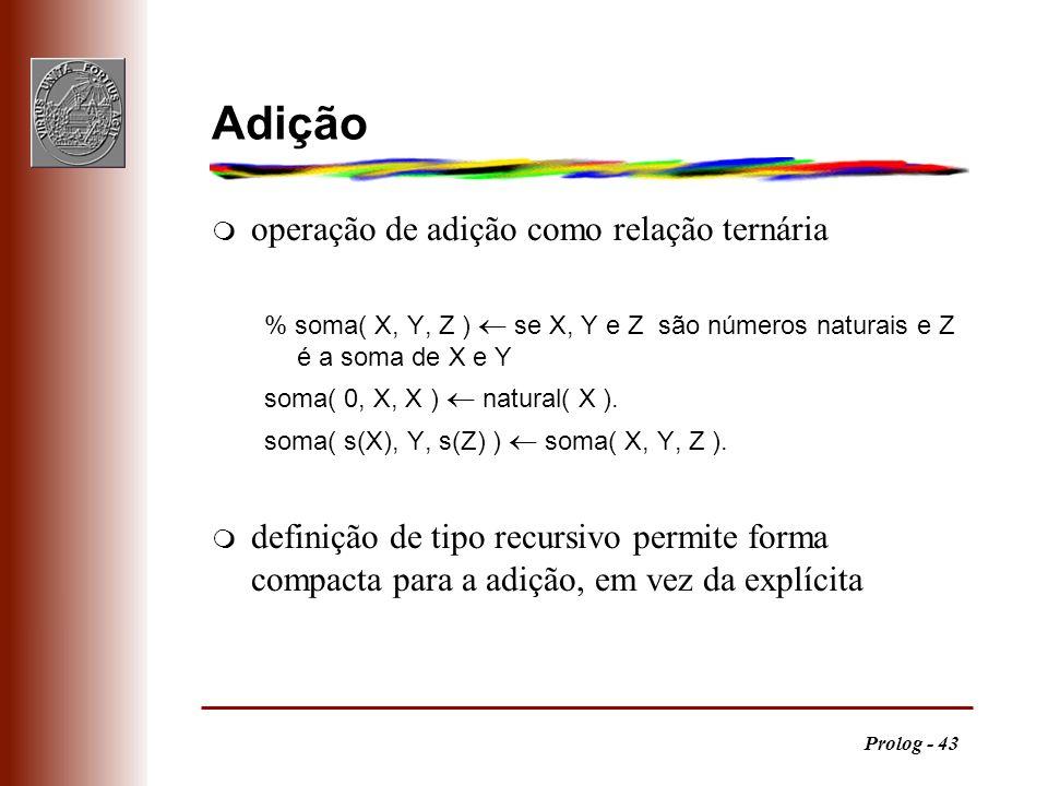 Prolog - 43 Adição m operação de adição como relação ternária % soma( X, Y, Z ) se X, Y e Z são números naturais e Z é a soma de X e Y soma( 0, X, X )