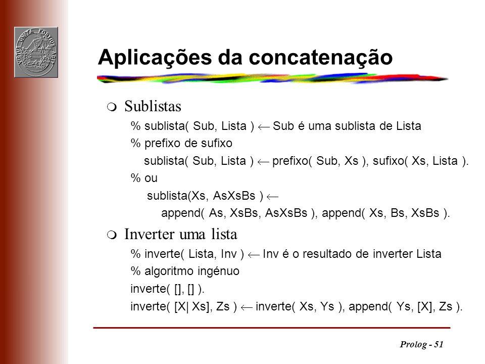 Prolog - 51 Aplicações da concatenação m Sublistas % sublista( Sub, Lista ) Sub é uma sublista de Lista % prefixo de sufixo sublista( Sub, Lista ) pre