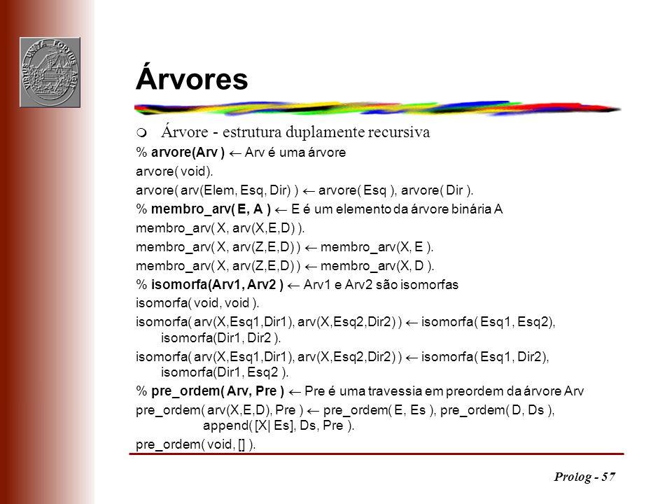 Prolog - 57 Árvores m Árvore - estrutura duplamente recursiva % arvore(Arv ) Arv é uma árvore arvore( void). arvore( arv(Elem, Esq, Dir) ) arvore( Esq