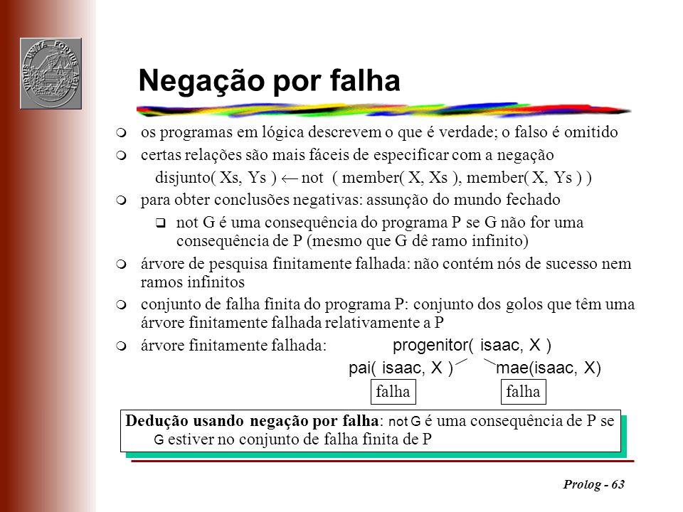 Prolog - 63 Dedução usando negação por falha: not G é uma consequência de P se G estiver no conjunto de falha finita de P Negação por falha m os progr