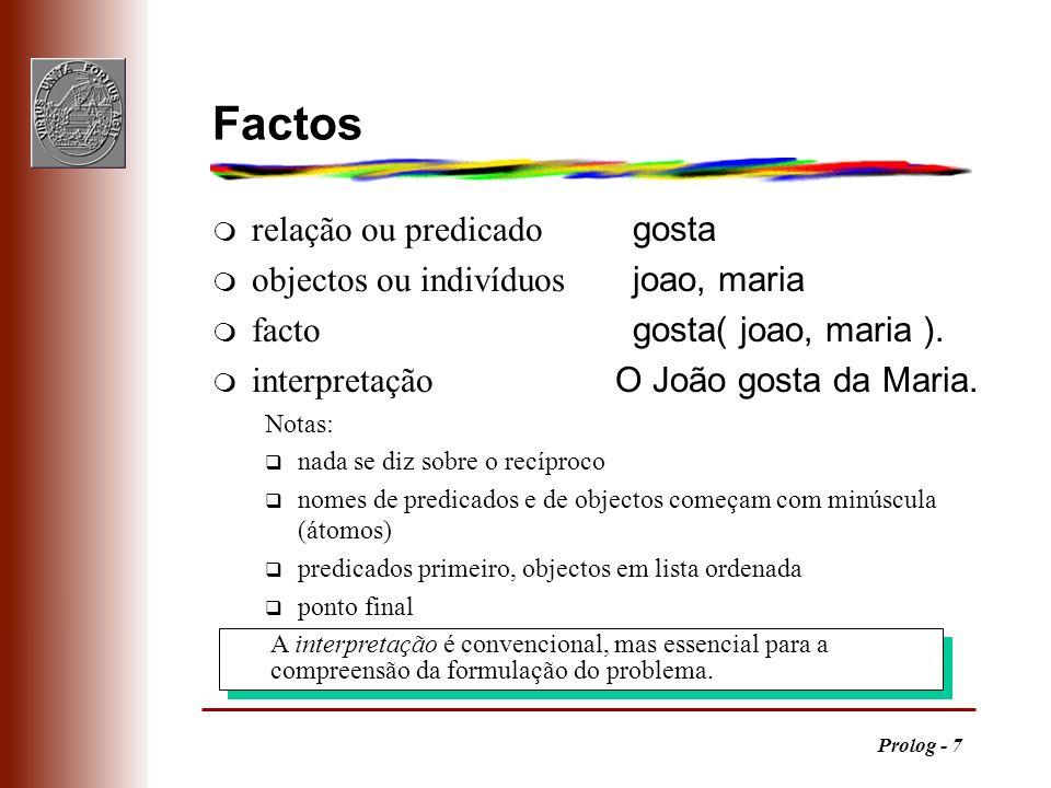 Prolog - 7 A interpretação é convencional, mas essencial para a compreensão da formulação do problema. Factos relação ou predicado gosta objectos ou i