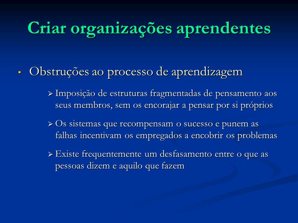 Criar organizações aprendentes Obstruções ao processo de aprendizagem Obstruções ao processo de aprendizagem Imposição de estruturas fragmentadas de p