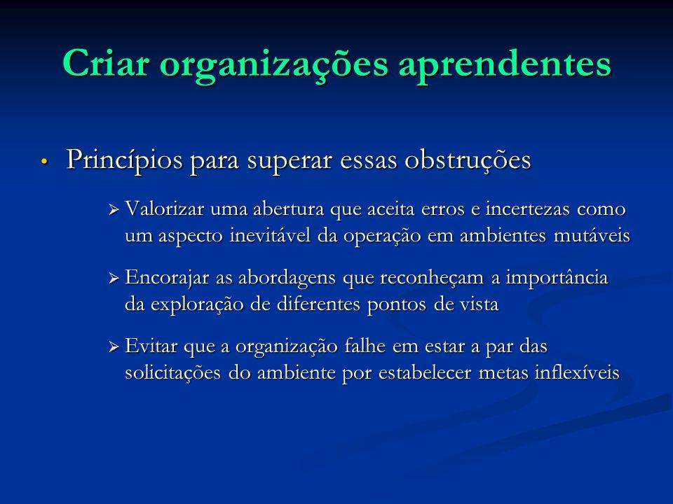 Criar organizações aprendentes Princípios para superar essas obstruções Princípios para superar essas obstruções Valorizar uma abertura que aceita err
