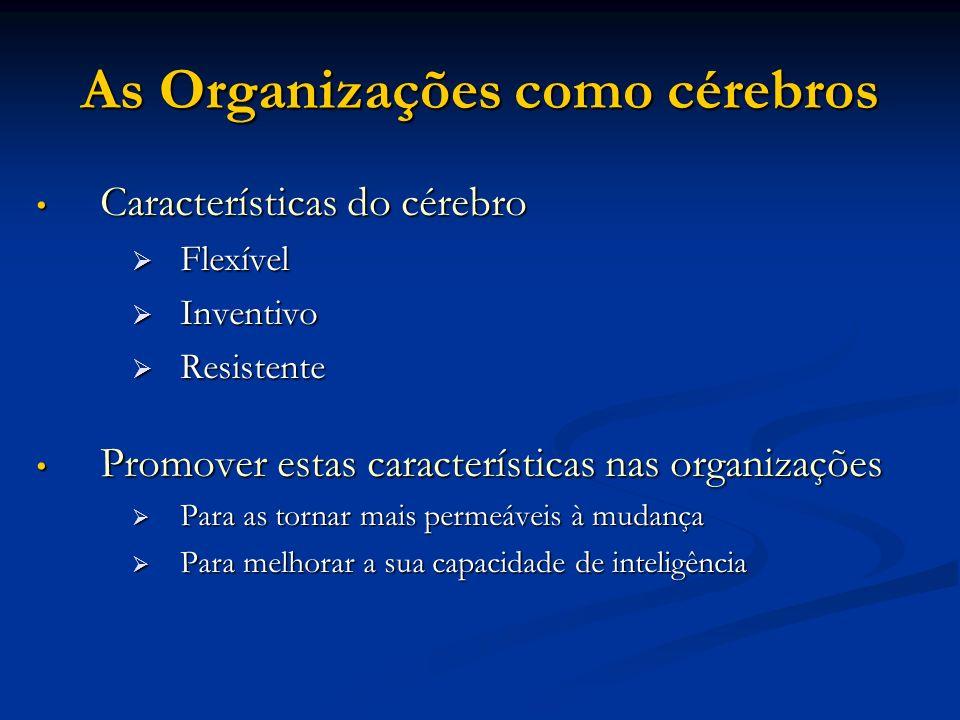 As Organizações como cérebros Características do cérebro Características do cérebro Flexível Flexível Inventivo Inventivo Resistente Resistente Promov