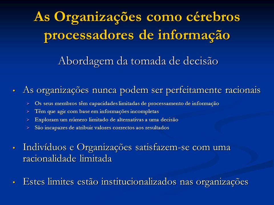 As Organizações como cérebros processadores de informação Abordagem da tomada de decisão As organizações nunca podem ser perfeitamente racionais As or