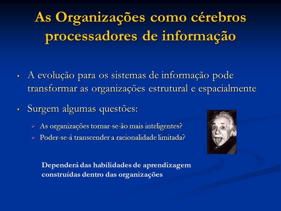 As Organizações como cérebros processadores de informação A evolução para os sistemas de informação pode transformar as organizações estrutural e espa