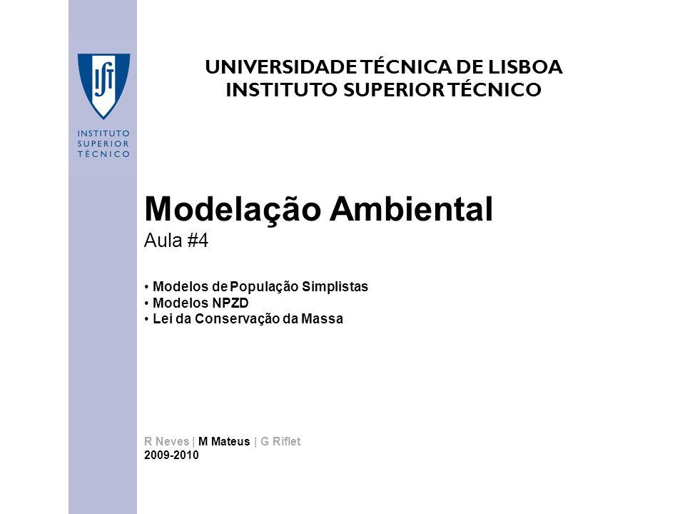 UNIVERSIDADE TÉCNICA DE LISBOA INSTITUTO SUPERIOR TÉCNICO Modelação Ambiental Aula #4 Modelos de População Simplistas Modelos NPZD Lei da Conservação da Massa R Neves | M Mateus | G Riflet 2009-2010