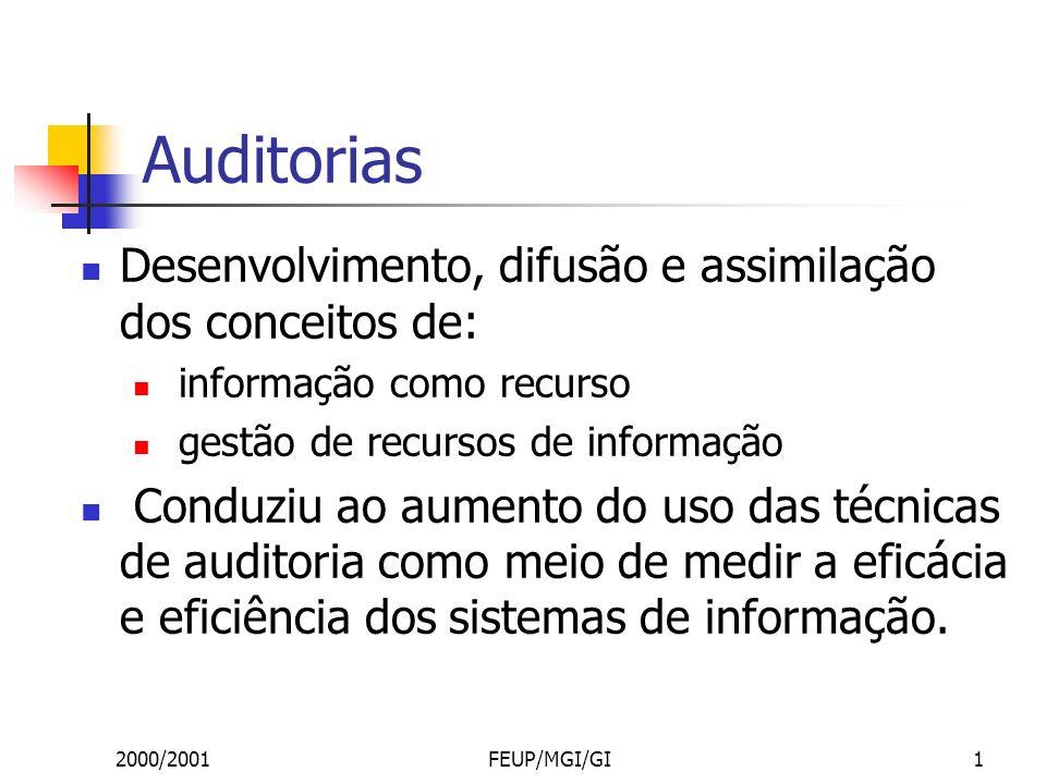 2000/2001FEUP/MGI/GI1 Auditorias Desenvolvimento, difusão e assimilação dos conceitos de: informação como recurso gestão de recursos de informação Conduziu ao aumento do uso das técnicas de auditoria como meio de medir a eficácia e eficiência dos sistemas de informação.