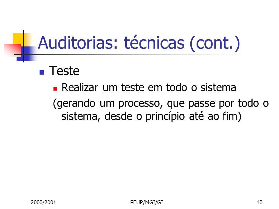2000/2001FEUP/MGI/GI10 Auditorias: técnicas (cont.) Teste Realizar um teste em todo o sistema (gerando um processo, que passe por todo o sistema, desde o princípio até ao fim)