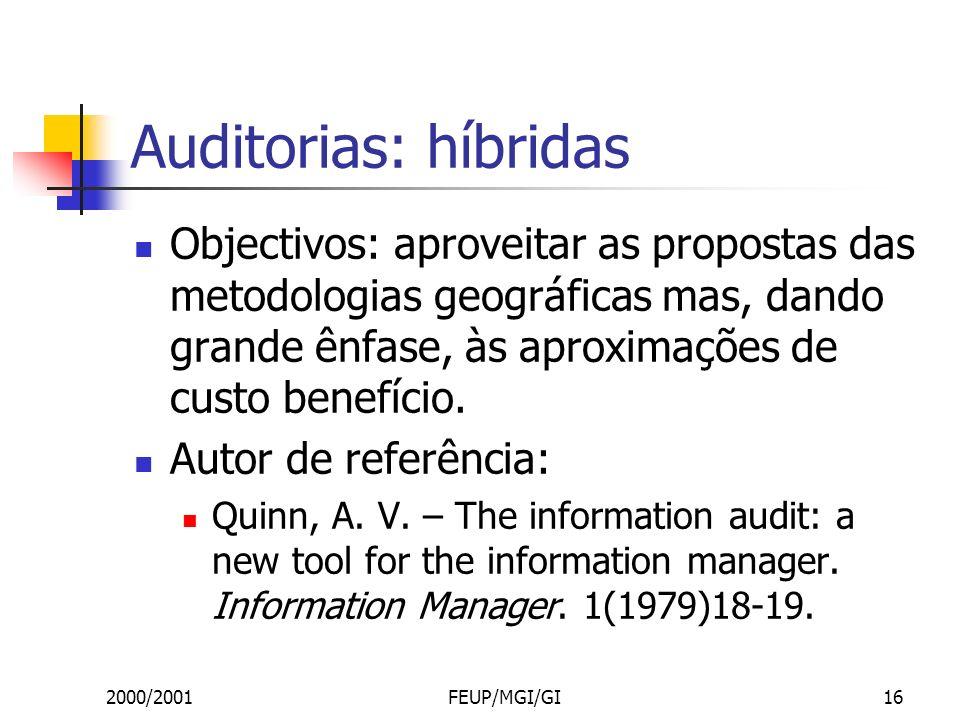 2000/2001FEUP/MGI/GI16 Auditorias: híbridas Objectivos: aproveitar as propostas das metodologias geográficas mas, dando grande ênfase, às aproximações de custo benefício.