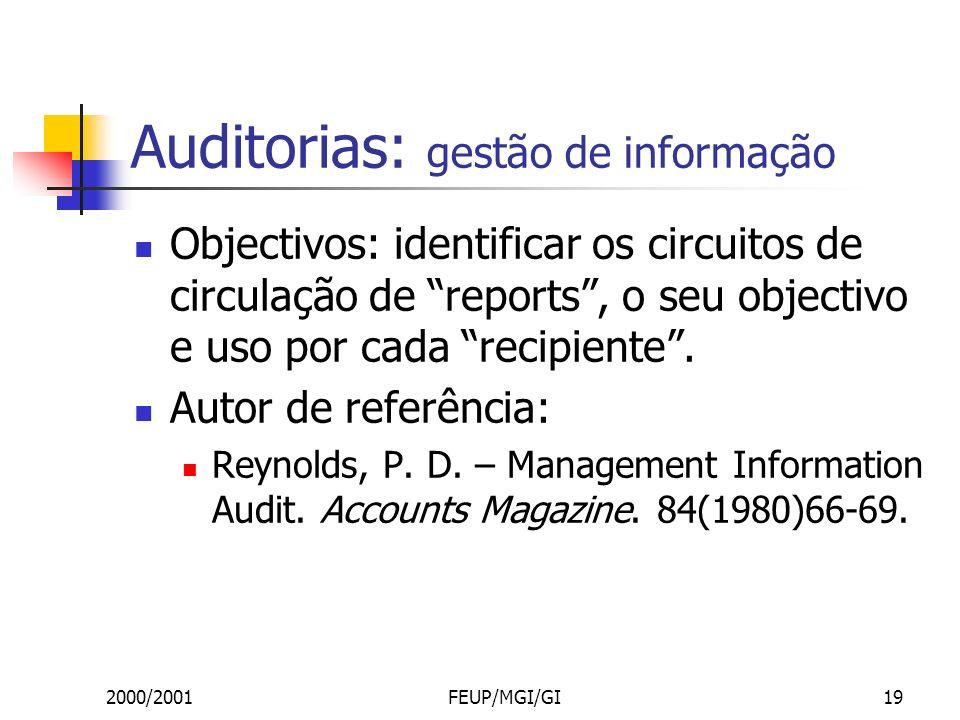2000/2001FEUP/MGI/GI19 Auditorias: gestão de informação Objectivos: identificar os circuitos de circulação de reports, o seu objectivo e uso por cada recipiente.
