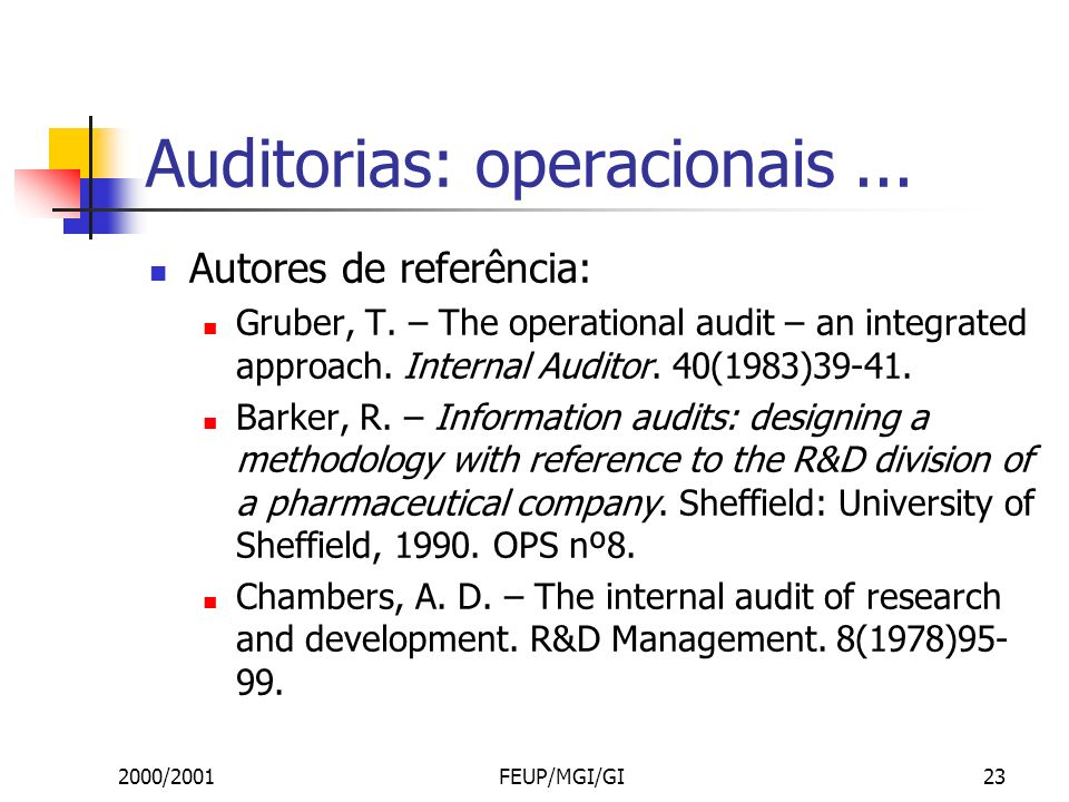 2000/2001FEUP/MGI/GI23 Auditorias: operacionais... Autores de referência: Gruber, T. – The operational audit – an integrated approach. Internal Audito