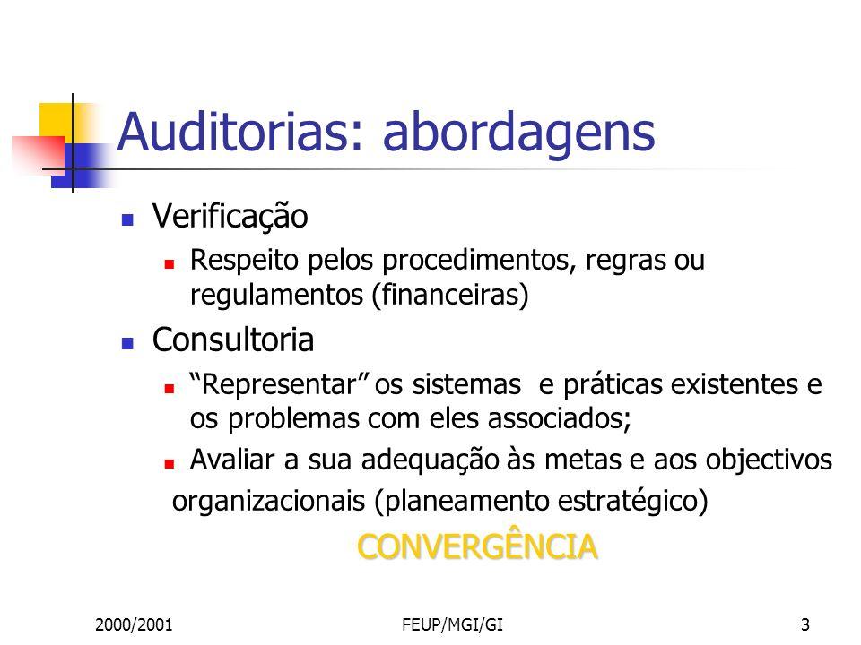 2000/2001FEUP/MGI/GI3 Auditorias: abordagens Verificação Respeito pelos procedimentos, regras ou regulamentos (financeiras) Consultoria Representar os sistemas e práticas existentes e os problemas com eles associados; Avaliar a sua adequação às metas e aos objectivos organizacionais (planeamento estratégico)CONVERGÊNCIA