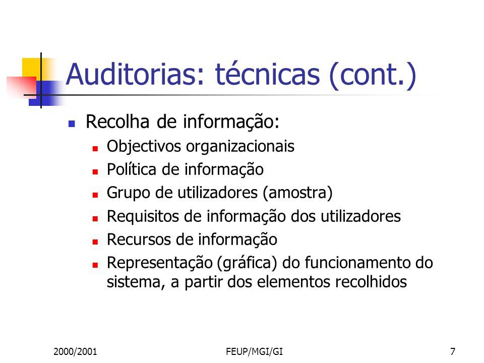 2000/2001FEUP/MGI/GI7 Auditorias: técnicas (cont.) Recolha de informação: Objectivos organizacionais Política de informação Grupo de utilizadores (amostra) Requisitos de informação dos utilizadores Recursos de informação Representação (gráfica) do funcionamento do sistema, a partir dos elementos recolhidos