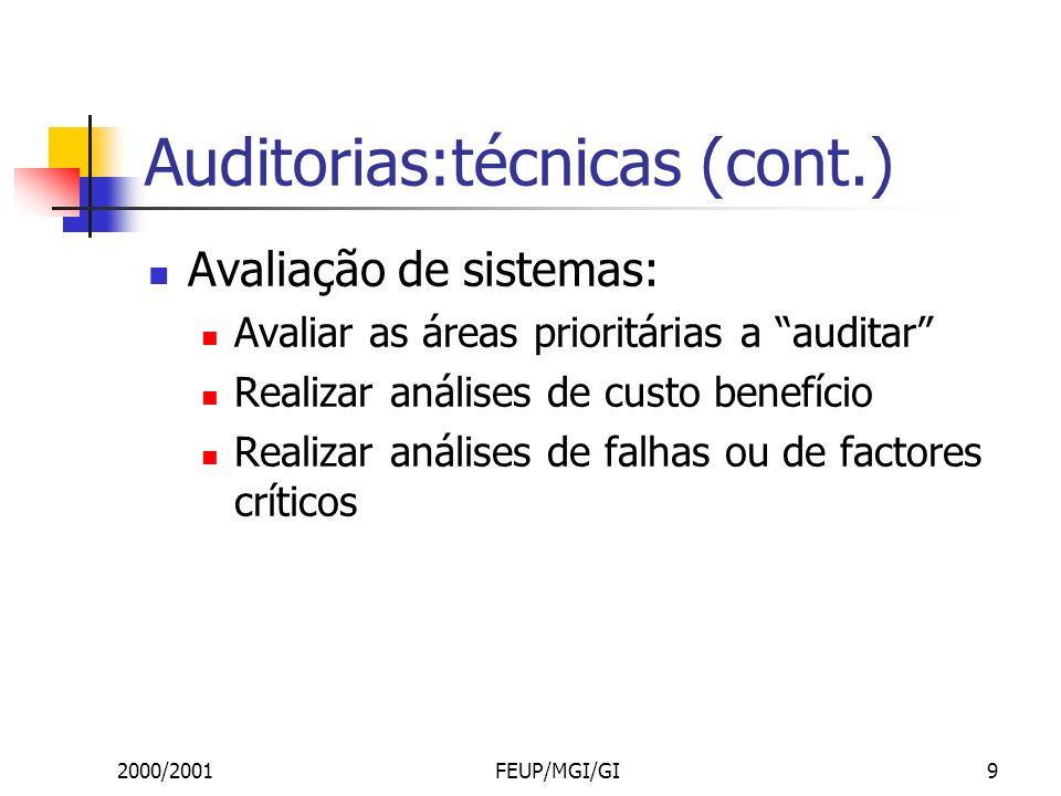 2000/2001FEUP/MGI/GI20 Auditorias: gestão de informação Processo Inventariar a distribuição da informação formal obtendo listas de reports produzidos/usados e das suas listas de circulação.