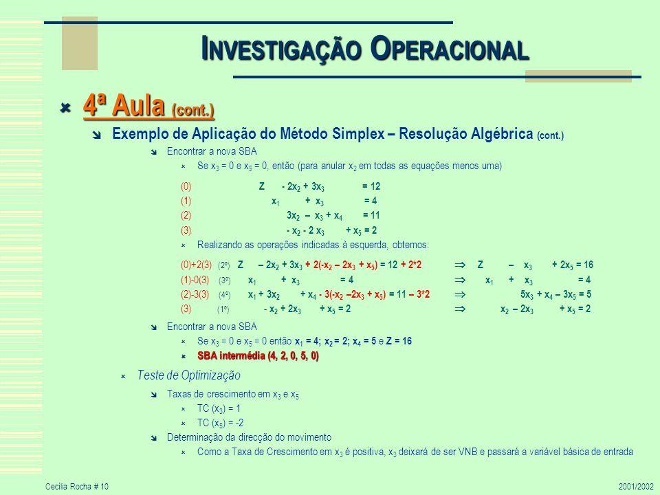 Cecília Rocha # 102001/2002 I NVESTIGAÇÃO O PERACIONAL 4ª Aula (cont.) 4ª Aula (cont.) Exemplo de Aplicação do Método Simplex – Resolução Algébrica (c