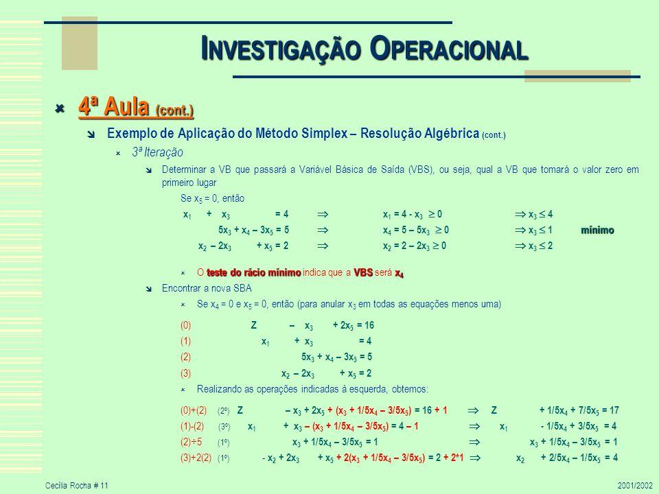 Cecília Rocha # 112001/2002 I NVESTIGAÇÃO O PERACIONAL 4ª Aula (cont.) 4ª Aula (cont.) Exemplo de Aplicação do Método Simplex – Resolução Algébrica (c