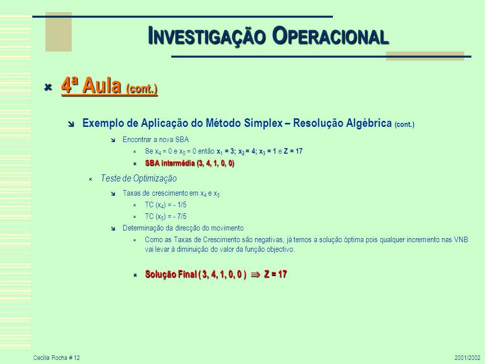 Cecília Rocha # 122001/2002 I NVESTIGAÇÃO O PERACIONAL 4ª Aula (cont.) 4ª Aula (cont.) Exemplo de Aplicação do Método Simplex – Resolução Algébrica (c