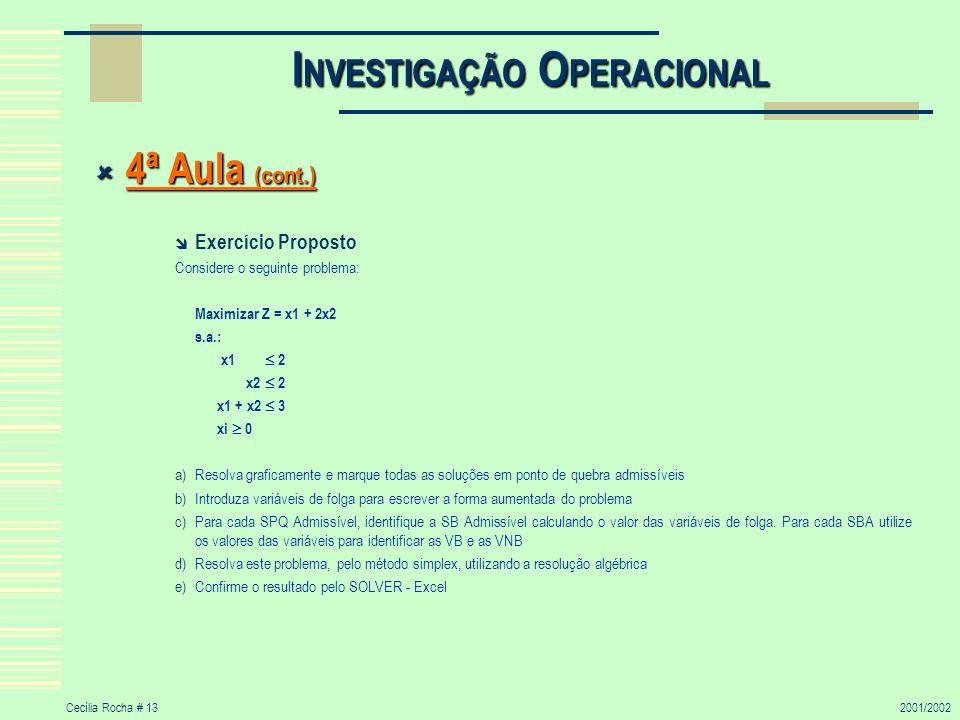 Cecília Rocha # 132001/2002 I NVESTIGAÇÃO O PERACIONAL 4ª Aula (cont.) 4ª Aula (cont.) Exercício Proposto Considere o seguinte problema: Maximizar Z =