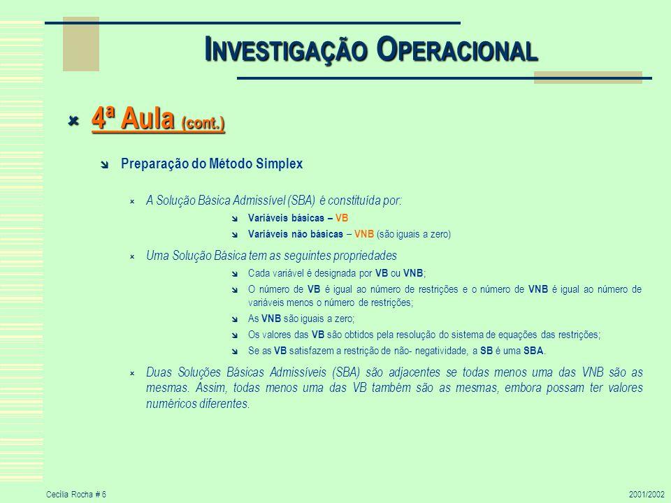 Cecília Rocha # 62001/2002 I NVESTIGAÇÃO O PERACIONAL 4ª Aula (cont.) 4ª Aula (cont.) Preparação do Método Simplex A Solução Básica Admissível (SBA) é