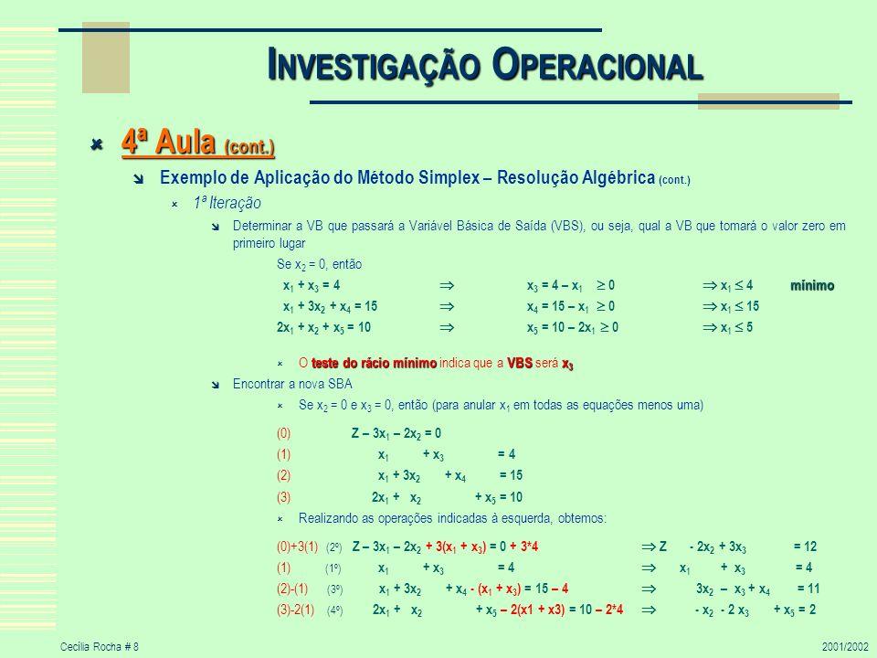 Cecília Rocha # 92001/2002 I NVESTIGAÇÃO O PERACIONAL 4ª Aula (cont.) 4ª Aula (cont.) Exemplo de Aplicação do Método Simplex – Resolução Algébrica (cont.) Encontrar a nova SBA Se x 2 = 0 e x 3 = 0 então x 1 = 4; x 4 = 11; x 5 = 2 e Z = 12 SBA intermédia (4, 0, 0, 11, 2) SBA intermédia (4, 0, 0, 11, 2) Teste de Optimização Taxas de crescimento em x 2 e x 3 TC (x 2 ) = 2 TC (x 3 ) = -3 Determinação da direcção do movimento Como a Taxa de Crescimento em x 2 é positiva, x 2 deixará de ser VNB e passará a variável básica de entrada 2ª Iteração Determinar a VB que passará a Variável Básica de Saída (VBS), ou seja, qual a VB que tomará o valor zero em primeiro lugar Se x 3 = 0, então x 1 + x 3 = 4 x 1 = 4 0 x 1 = 3x 2 – x 3 + x 4 = 11 x 4 = 11 – 3x 2 0 x 2 11/3 mínimo x 2 – 2x 3 + x 5 = 2 x 5 = 2 – x 2 0 x 2 2 mínimo teste do rácio mínimo VBS x 5 O teste do rácio mínimo indica que a VBS será x 5