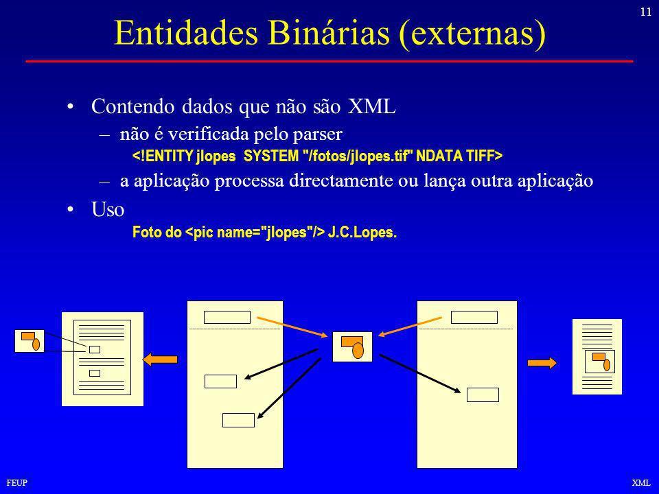 11 FEUPXML Entidades Binárias (externas) Contendo dados que não são XML –não é verificada pelo parser –a aplicação processa directamente ou lança outra aplicação Uso Foto do J.C.Lopes.