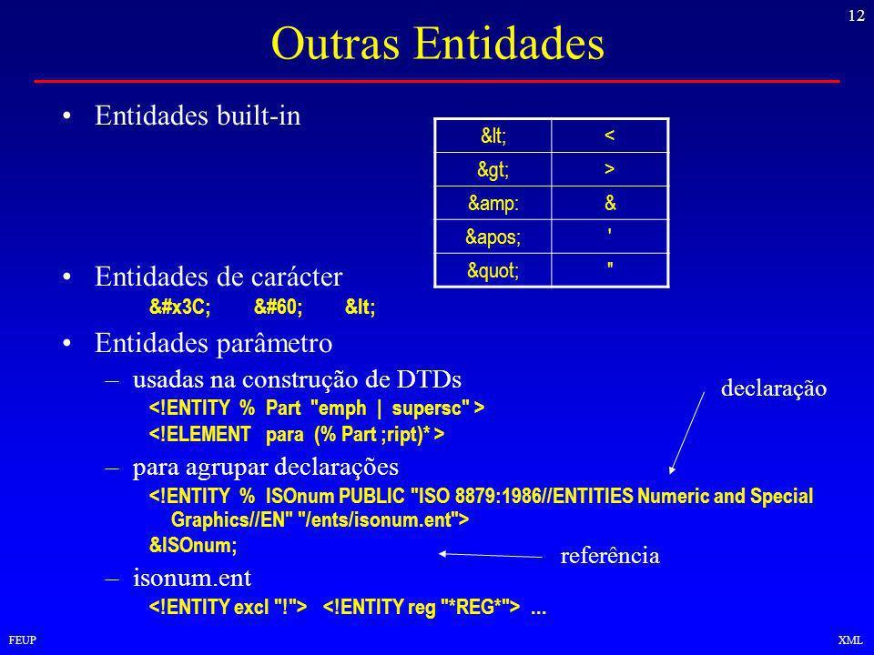 12 FEUPXML Outras Entidades Entidades built-in Entidades de carácter <<< Entidades parâmetro –usadas na construção de DTDs –para agrupar declarações &ISOnum; –isonum.ent...