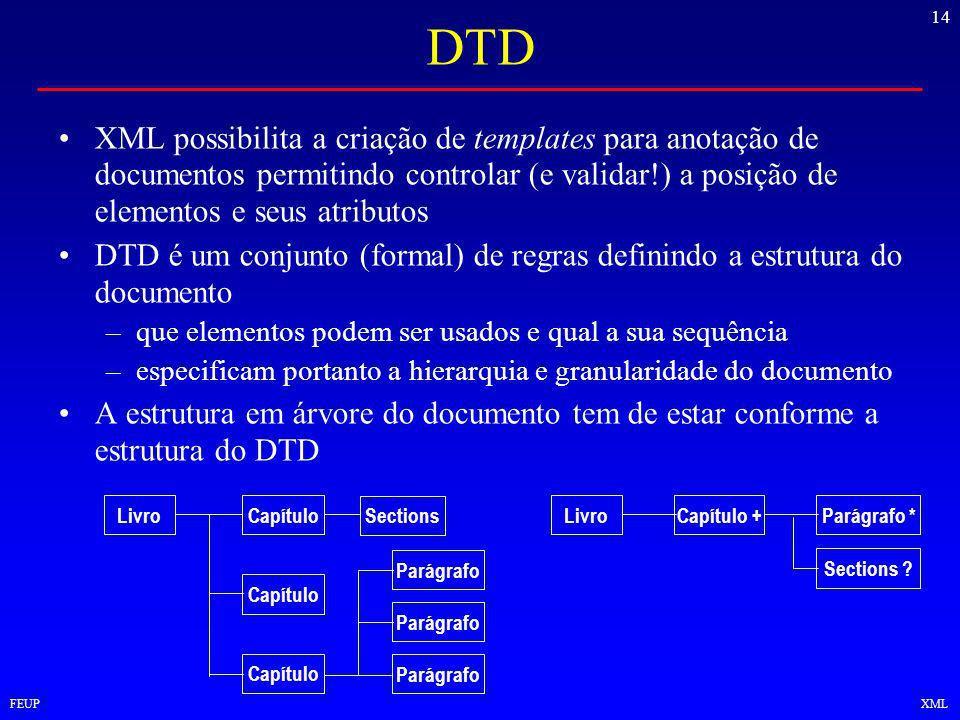 14 FEUPXML DTD XML possibilita a criação de templates para anotação de documentos permitindo controlar (e validar!) a posição de elementos e seus atributos DTD é um conjunto (formal) de regras definindo a estrutura do documento –que elementos podem ser usados e qual a sua sequência –especificam portanto a hierarquia e granularidade do documento A estrutura em árvore do documento tem de estar conforme a estrutura do DTD LivroCapítulo +Parágrafo * Sections .