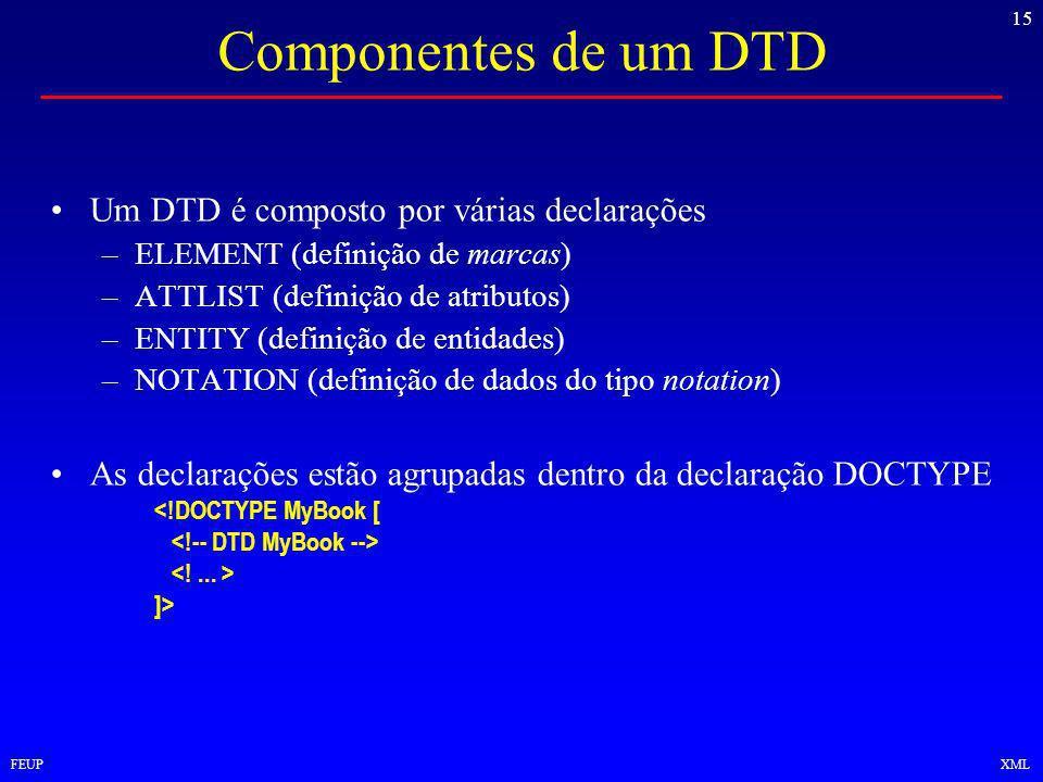 15 FEUPXML Componentes de um DTD Um DTD é composto por várias declarações –ELEMENT (definição de marcas) –ATTLIST (definição de atributos) –ENTITY (definição de entidades) –NOTATION (definição de dados do tipo notation) As declarações estão agrupadas dentro da declaração DOCTYPE <!DOCTYPE MyBook [ ]>